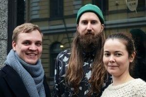Aatoksen Niko Isojärvi, Arttu Seppänen ja Emmi Skytén. Kuvasta puuttuu Leena Alanko. Kuva: Ida Pimenoff 2017.