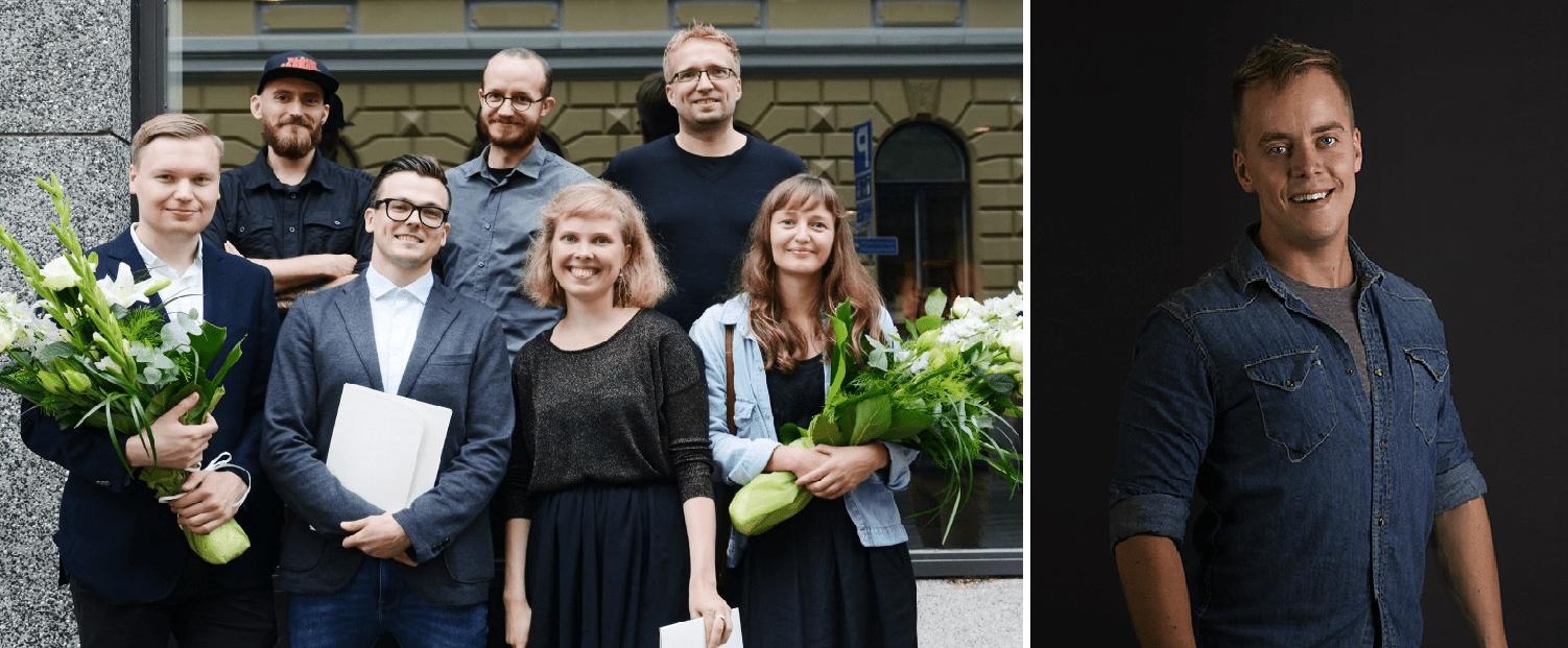 Uutisraivaajan 2015 voittajat Kuka ja Lucify, kuva Ida Pimenoff. Juhani Mykkänen, kuva: Salla Koivu.