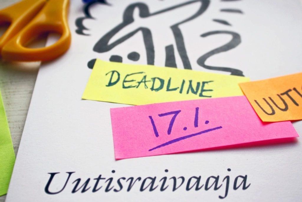 Uutisraivaajan deadline on 17. tammikuuta klo 17 Suomen aikaa.
